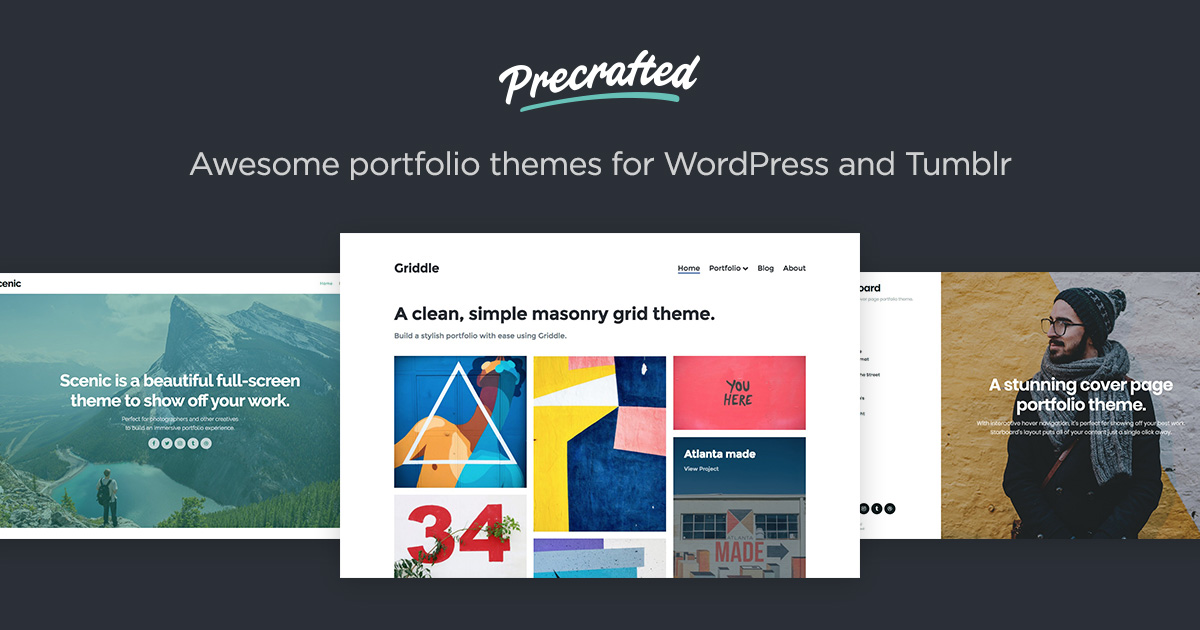 precrafted portfolio themes for wordpress and tumblr